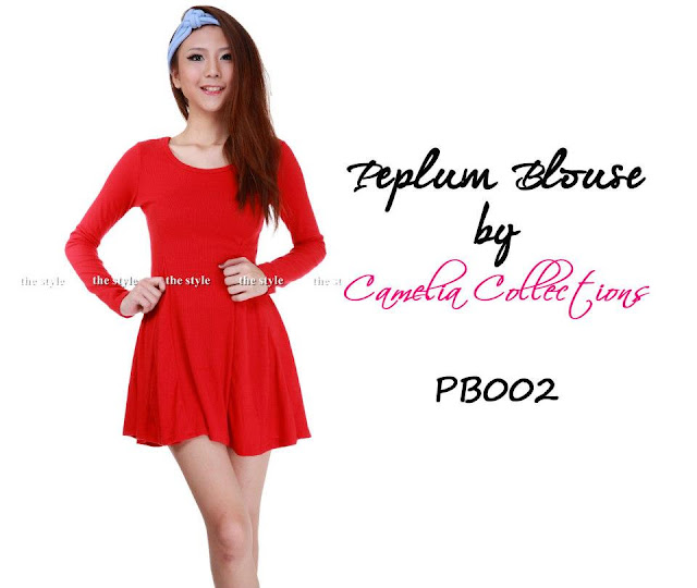 cotton peplum blouse red