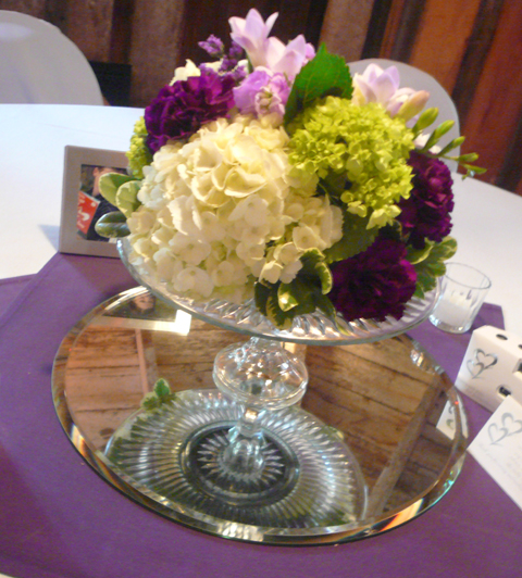 I love how Cake Plate centerpieces look We placed them on top of mirrors so