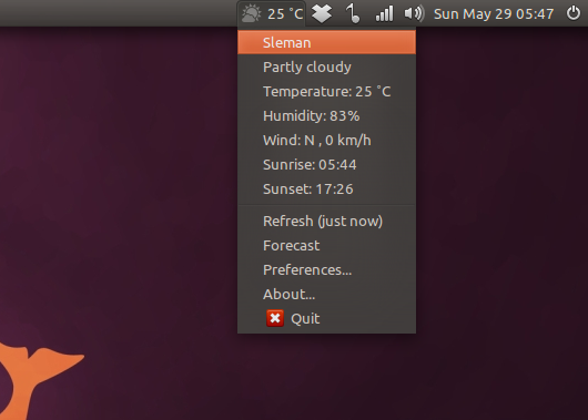 Weather Indicator di Ubuntu 11.04 Natty Narwhal