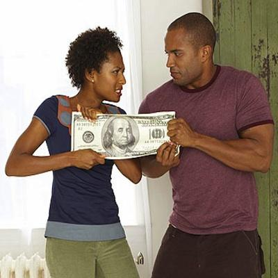 How To Talk To Your Partner About Money - black couples fighting - dollar