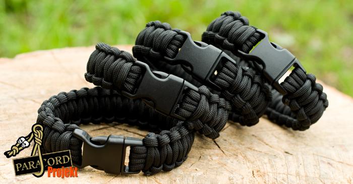 Czarne bransoletki survivalowe z paracordu BLACK Bear Grylls