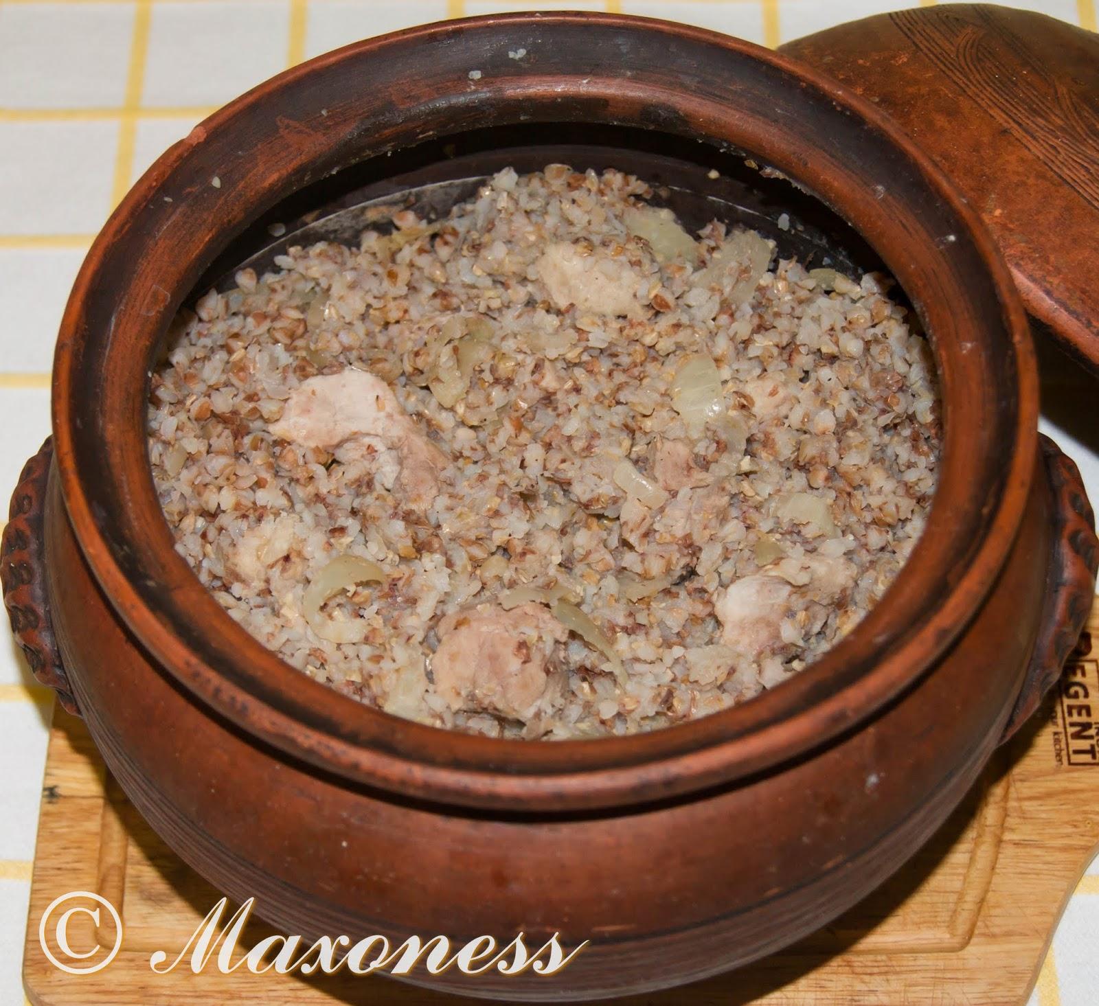 Каша с мясом по-сельски. Русская кухня.