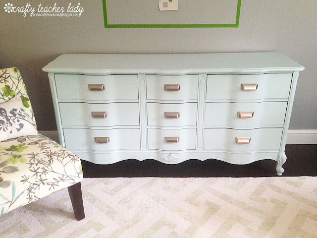 Dresser Makeover Benjamin Moore paint in Birds Egg blue