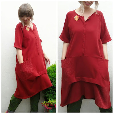 Cotton Ghita dress by Gudrun Sjoden in Madder Red