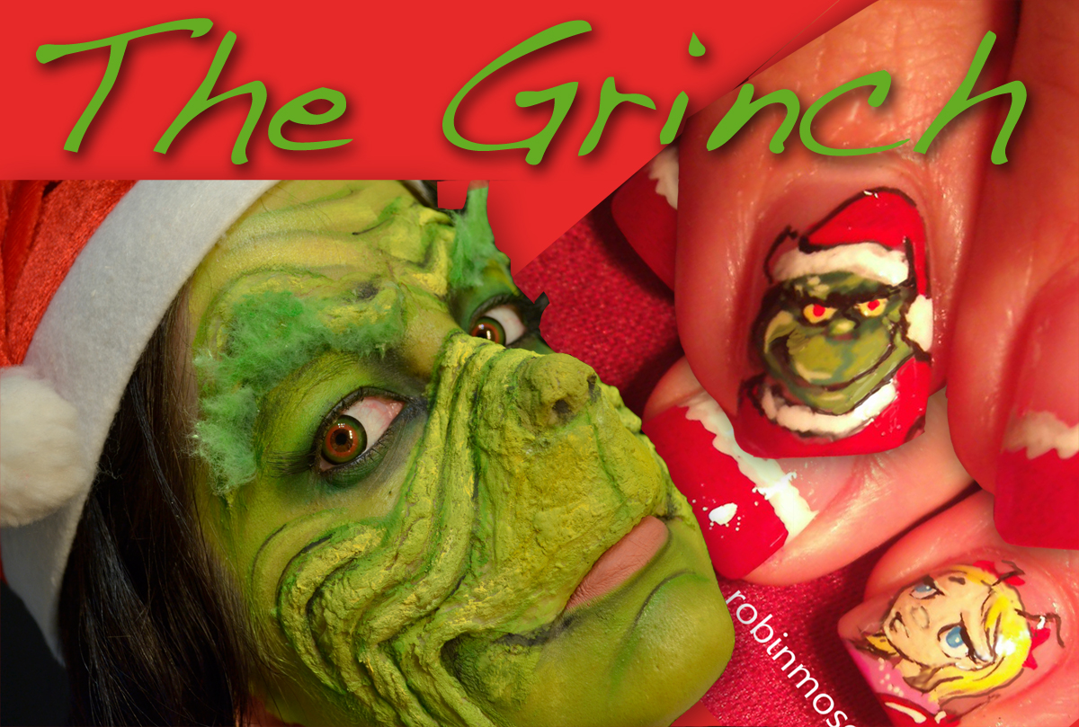 the grinch nails, the grinch nail art, christmas grinch ...