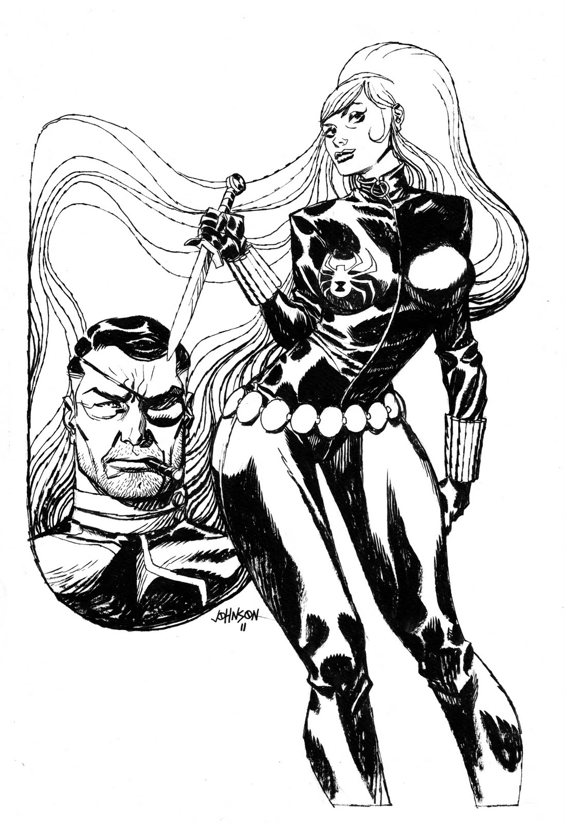 Download Avengers Coloring Pages Here Blackwidow: Comic Twart: Nick Fury B/w Of Black Widow By Rev. Dave Johnson