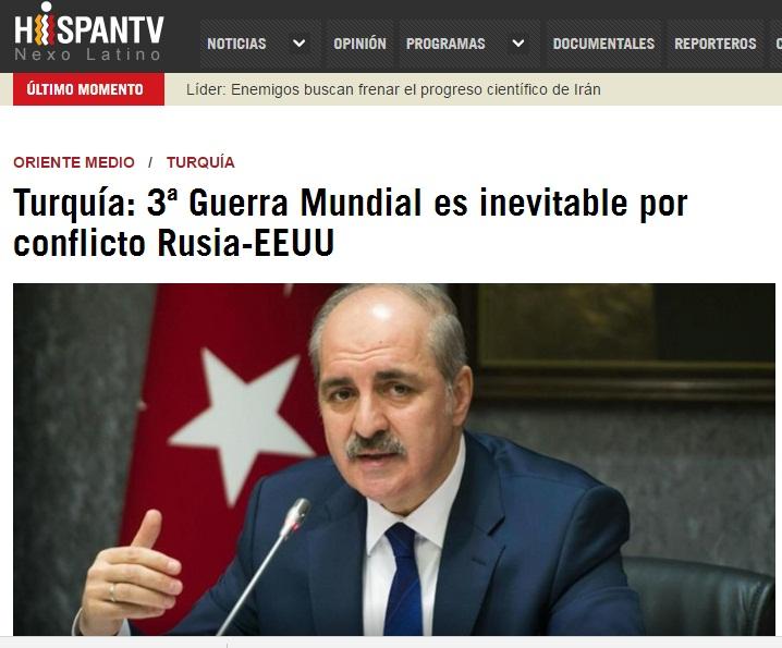 """TURQUIA: """"A WW3 É INEVITÁVEL SE EUA E RÚSSIA NÃO SE RESOLVEREM."""""""