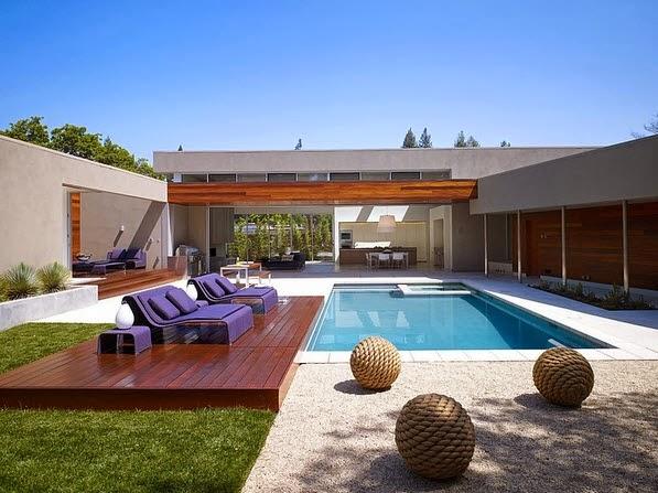 Dise o de casa moderna en forma de u fachada e interiores for De k piscina