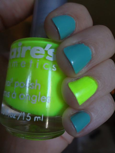 mint and neon nail polish