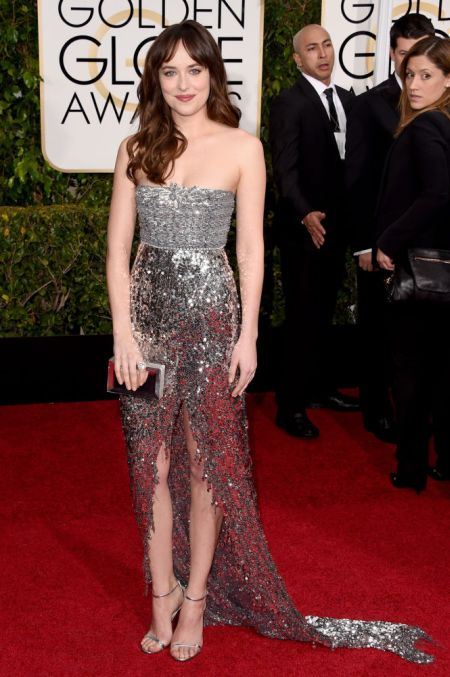 Dakota Johnson in a silver Chanel Couture dress at the Golden Globes 2015