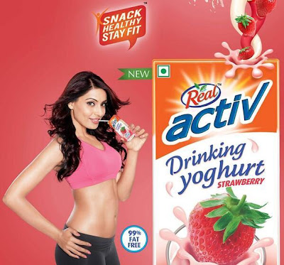 Bipasha Basu's first Print Ad for Real Activ Drinking Yoghurt Strawberry