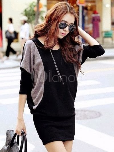 Black grey combo dress