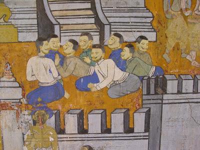Ramayana mural, men sitting, Silver Pagoda, Phnom Penh, Cambodia