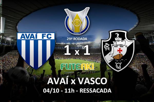 Veja o resumo da partida com os gols e os melhores momentos de Avaí 1x1 Vasco pela 29ª rodada do Brasileirão 2015.