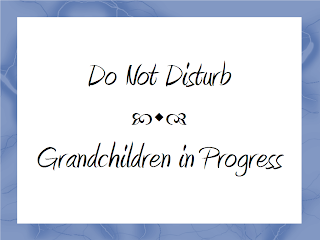 "Sign: ""Do Not Disturb. Grandchildren in Progress."""