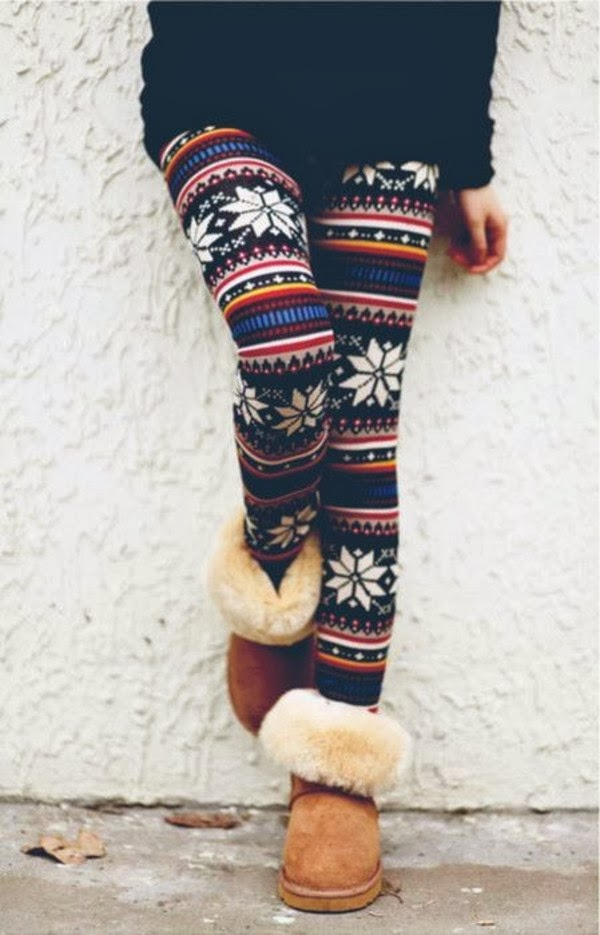 Snow Patterned and Colored Striped Tights with Light Brown suitable Shoes