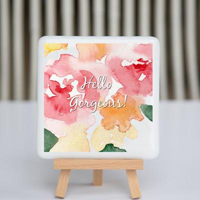 hello gorgeous, watercolor flowers, pink flowers, sassy glass studio, creative entrepreneur, desk art, coaster