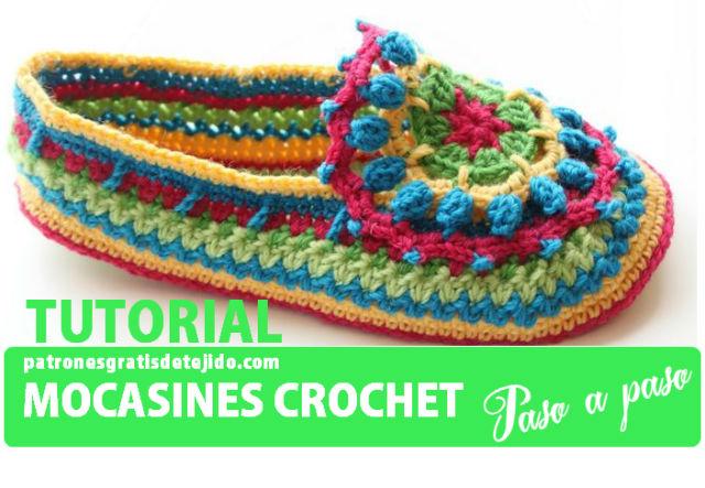 tutorial de mocasin tejido con crochet paso a paso