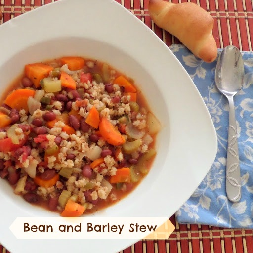 Bean and Barley Stew:  A healthy, meatless, one pot meal stew with beans, barley, and veggies.