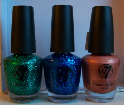 W7 Green Dazzle, Blue Diamonds and Cosmic Latte