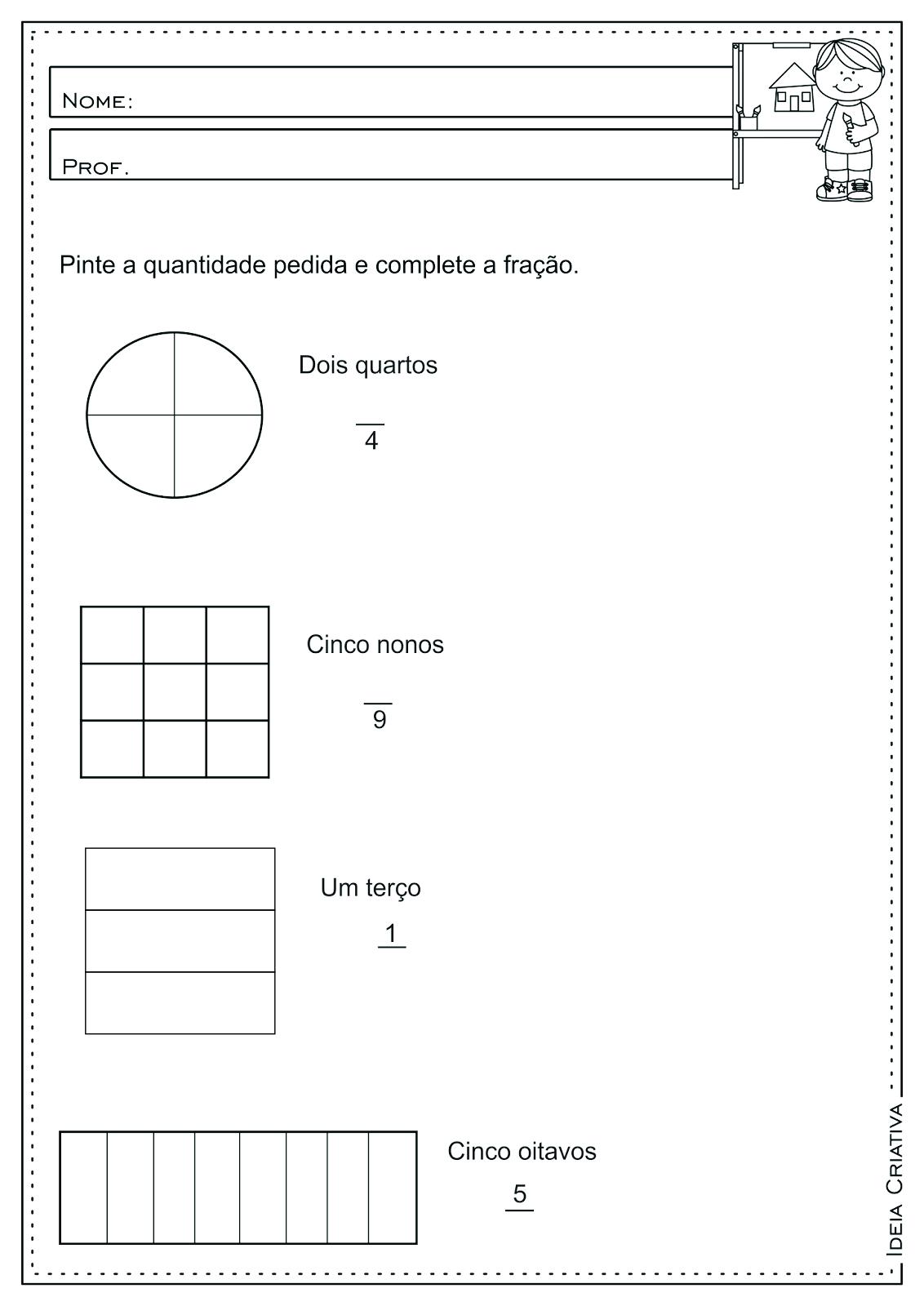 Atividade Educativa Frações Matemática 3° ano Fundamental