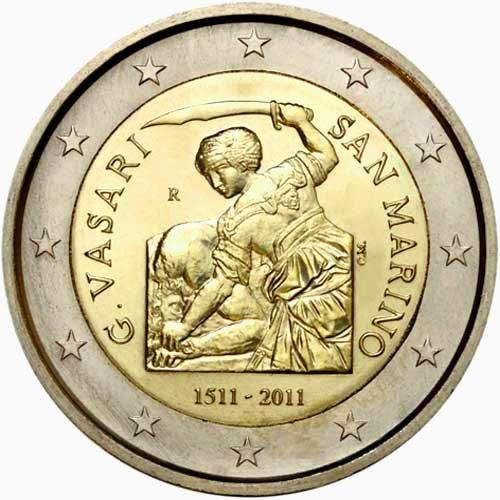 2 Euro Commemorative Coins San Marino 2011 500 Anniversary Giorgio Vasari