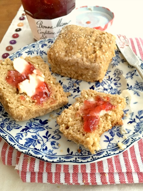 millet molasses biscuits are mildly sweet with a little crunch from the millet. Perfect with soup on served with butter and jam.