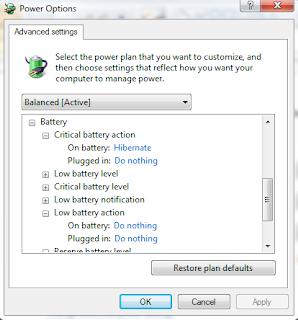 Settingan untuk menanggulangi tanda silang pada battery