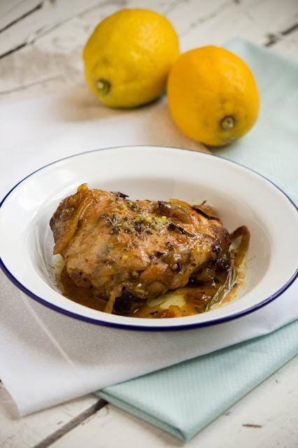 Pollastre al forn amb mel i llimona