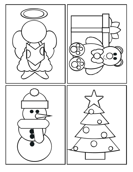 Christmas Cards Coloring Pages