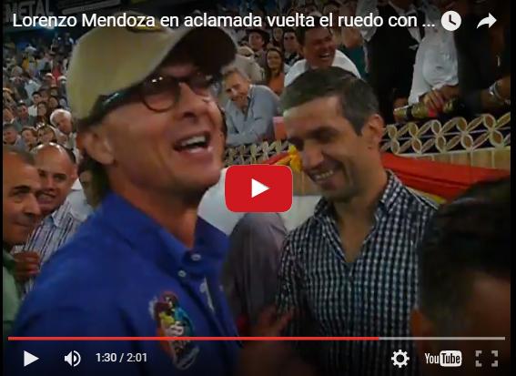 Lorenzo Mendoza ovacionado en Plaza de Toros de San Cristóbal