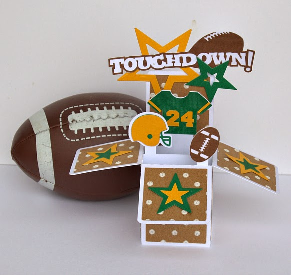 Football Box card using Core'diantions Polka Dot Pop paper