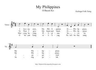 My Philippines (O Bayan Ko) Kalinga Folk Song Music Sheet