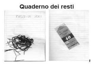 foto di un quaderno a righe con della paglia incollata nella pagina sinistra sotto il titolo Pasqua 2001 e un biglietto di autobus incollato sulla pagina destra