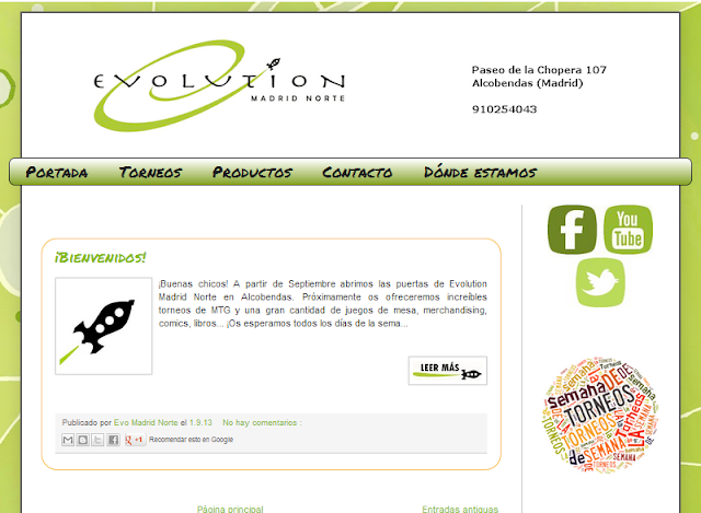 Página web de Evolution Madrid Norte
