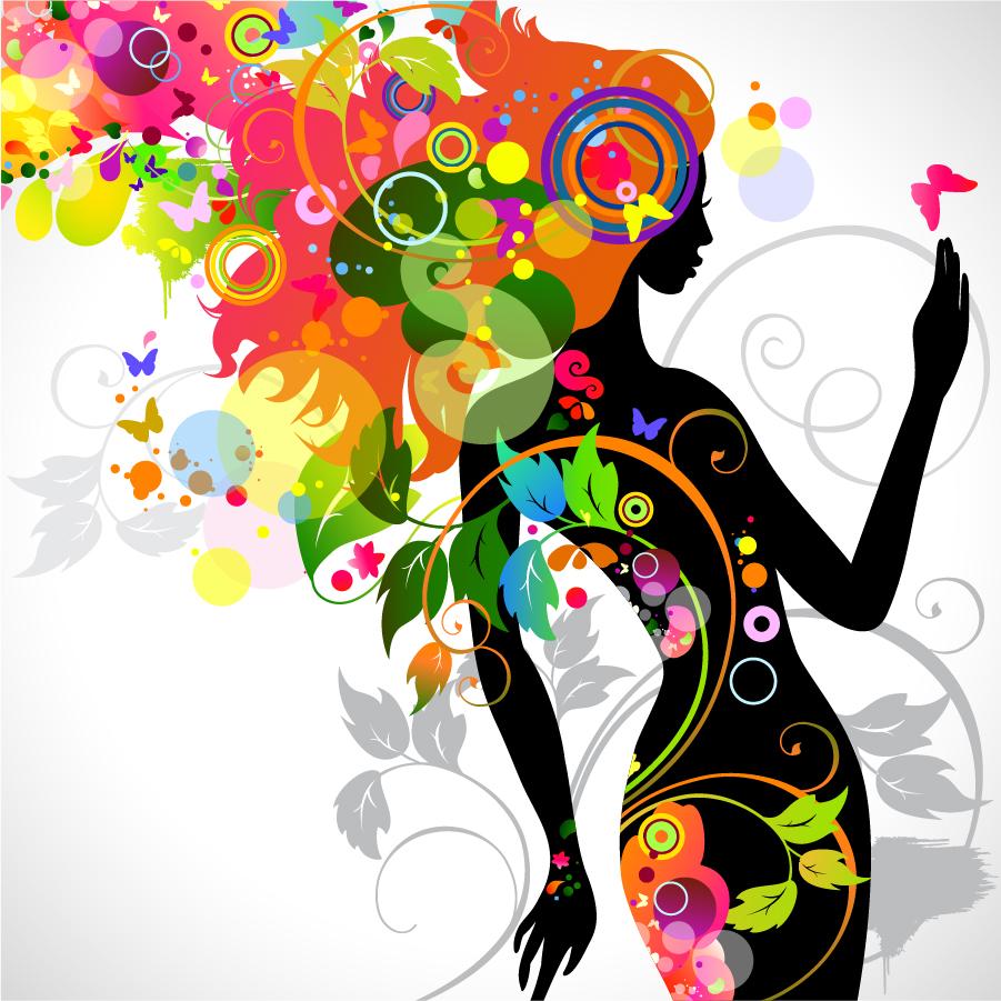 カラフルな植物で型どった女性のシルエット Colorful ...
