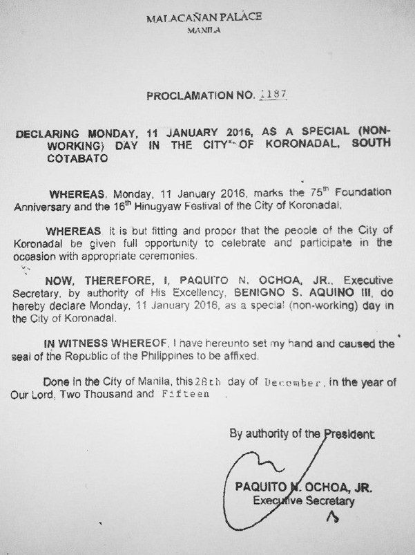 January 11 declared Special (Non-working) Day in Koronadal City