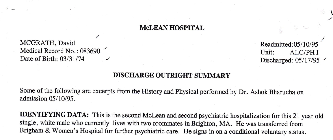 My Life Scanned: Mclean Discharge Summary (5/10/95-5/17/95)