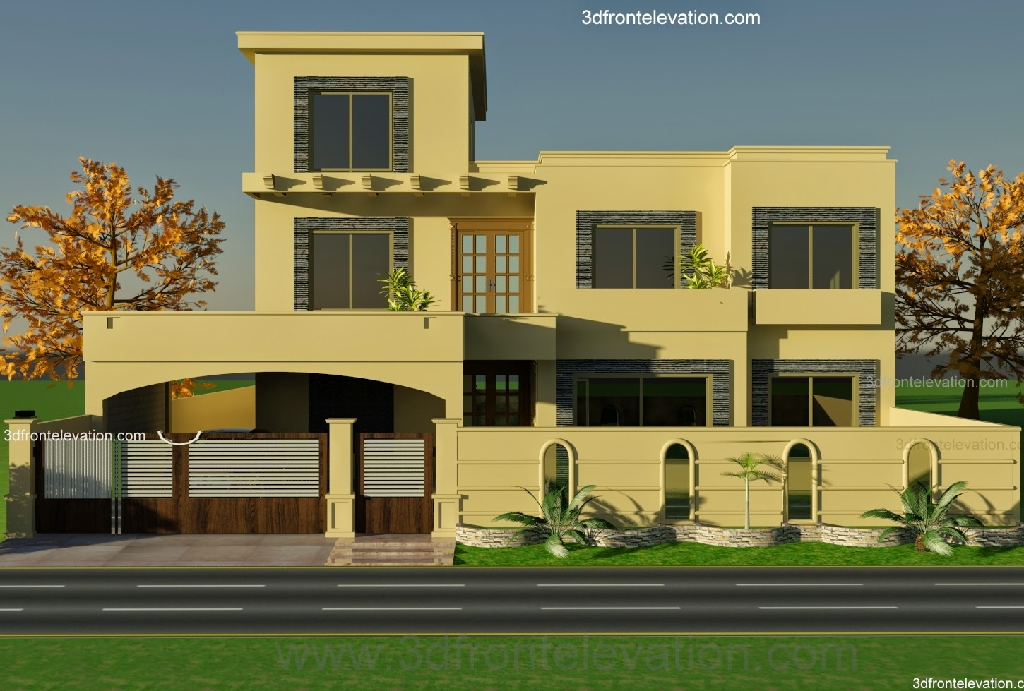 3d front 1 kanal house plan for 9 k1 wapda for One kanal house plan