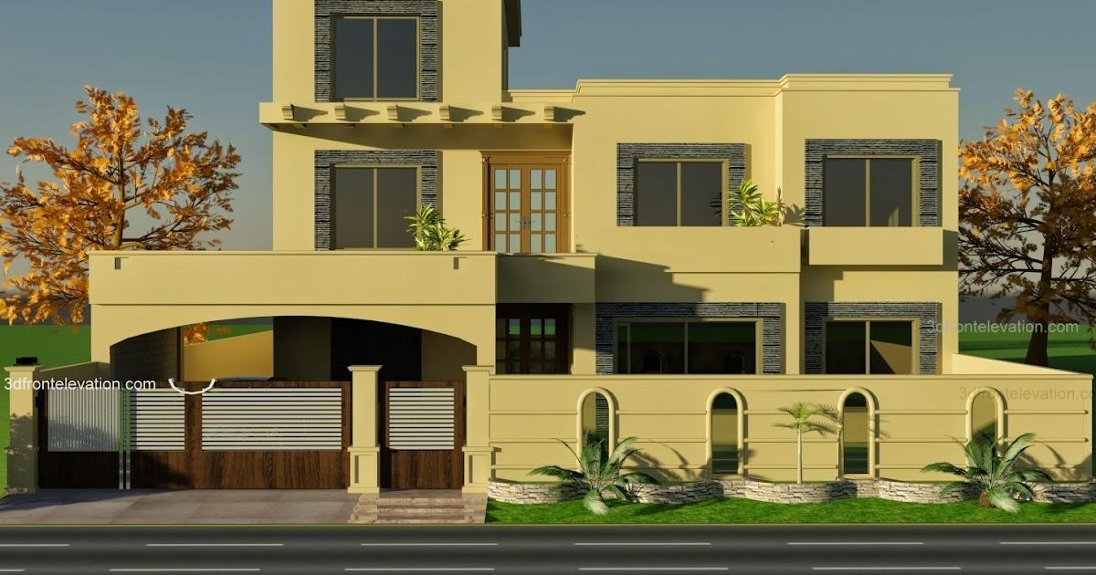 3d Front 1 Kanal House Plan For 9 K1 Wapda