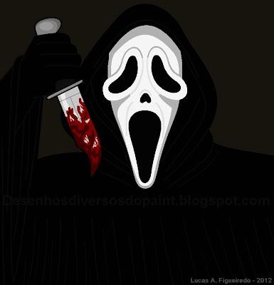 Desenho do Ghostface, do filme Pânico, feito no Paint