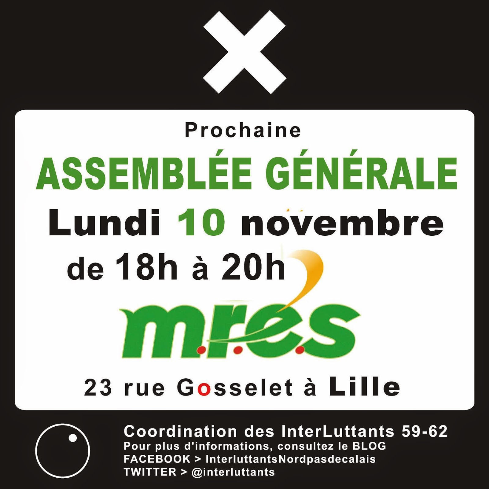 ASSEMBLÉE GÉNÉRALE  Lundi 10 novembre à 18h00 à la MRES (Maison Régionale de l'Environnement et des Solidarités)  23 rue Gosselet à Lille