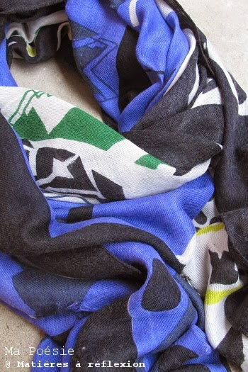 Foulard demi-saison bleu vert Ma Poésie