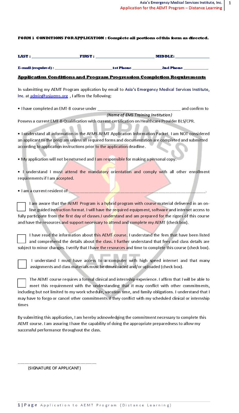Asias emergency medical services instituteinc aems march 2015 on requests for pdf format on the aems aemt application forms please email adminasiaems with your valid id 1betcityfo Gallery
