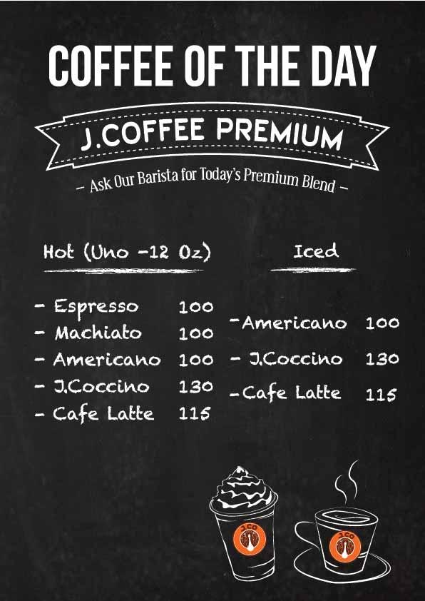 J.CO's Premium Colombian Coffee Price List