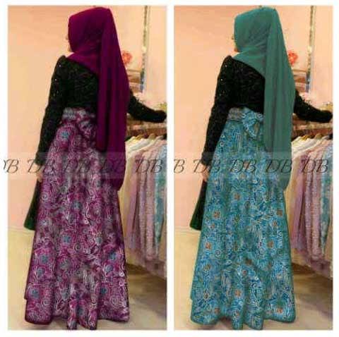 Model baju gamis batik kombinasi polos busana muslim 2014 Baju gamis pesta lazada