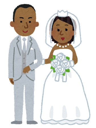 新郎新婦・花嫁花婿のイラスト(黒人