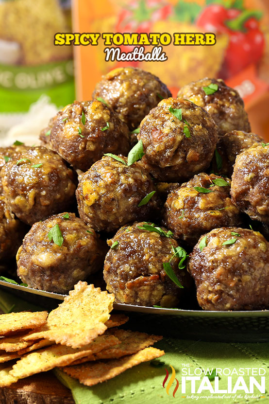 Spicy Tomato Herb Meatballs are soft and tender 5 ingredient meatballs exploding with flavor.  Finally, an easy recipe that creates a magnificent meatball. @SlowRoasted