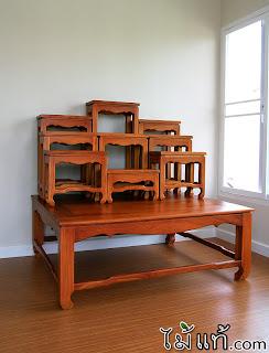 โต๊ะพระ หรือโต๊ะหมู่บูชา หมู่ 9 พร้อมโต๊ะพระไว้วางฐานหมู่บูชา by ไม้แท้.com