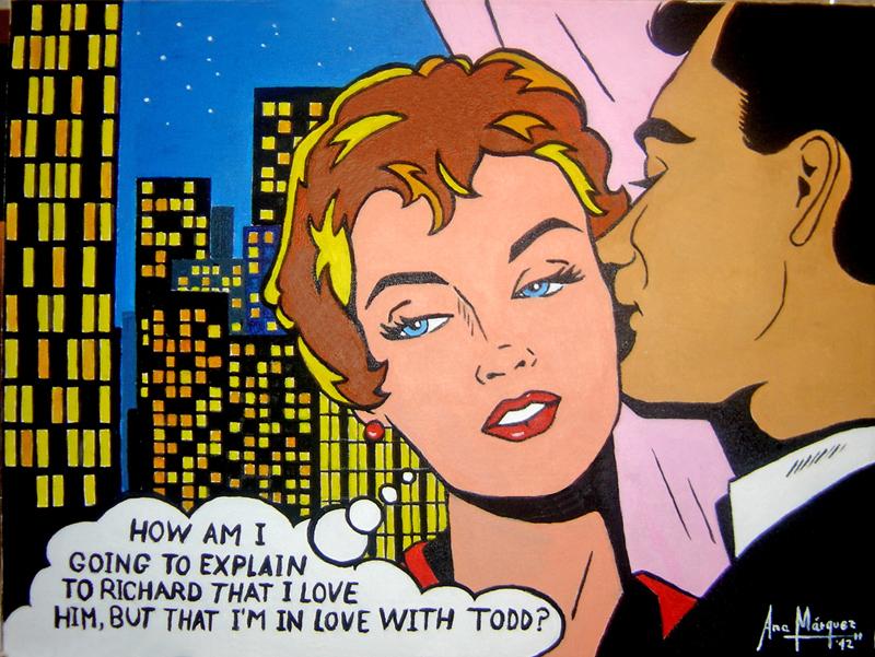 Con el tiempo en mis brazos c mic retro pop art iii - Cuadros pop art comic ...